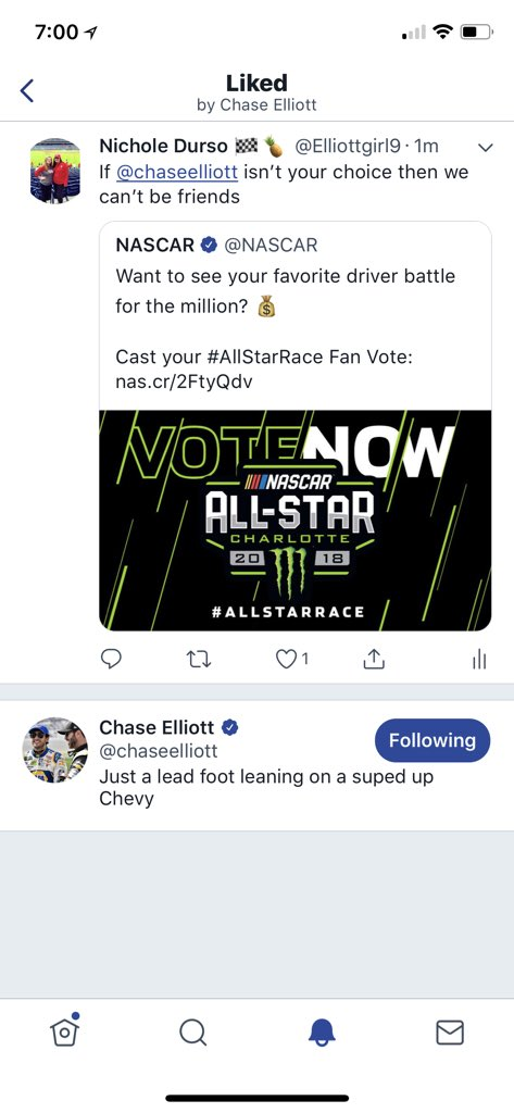 I FINALLY GOT A LIKE FROM @chaseelliott 😍😍😍😍😍😍 thanks Clyde