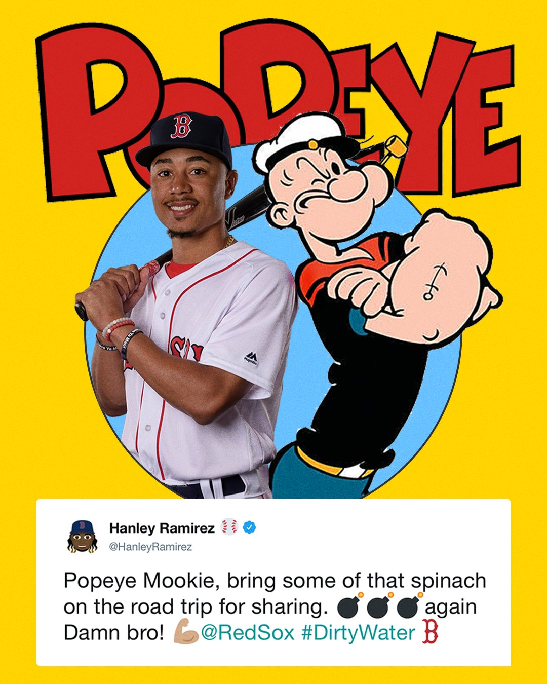 Mookie Betts = Popeye? Hanley Ramirez thinks so �� https://t.co/dAS9uIfNdB