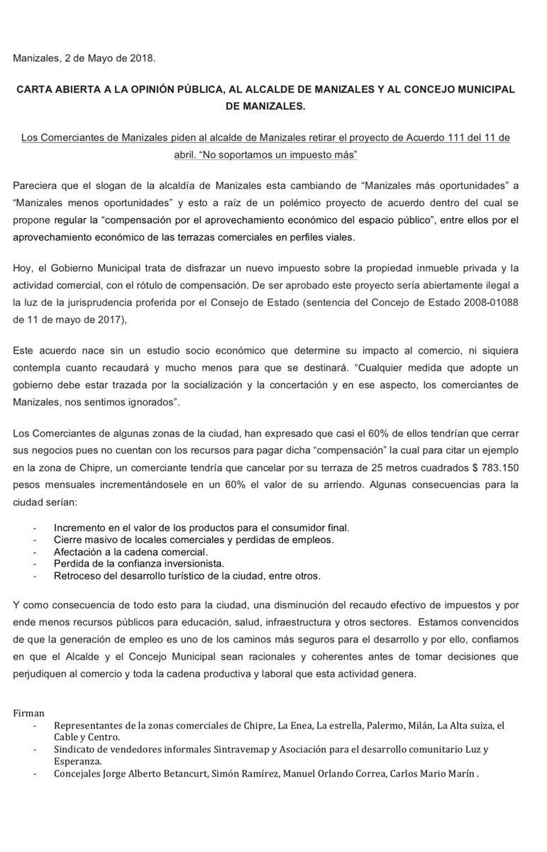 Santiago Dussán S Tweet Carta Abierta A La Opinion