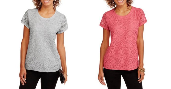 e629757f9fa Faded Glory Women's Short Sleeve Lace Front T-Shirt Only $3.96! -  http://bit.ly/2w5kj8H #LaceTshirtpic.twitter.com/EKsgpGrMxw