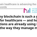 Image for the Tweet beginning: #blockchain #healthcare advancing #management of