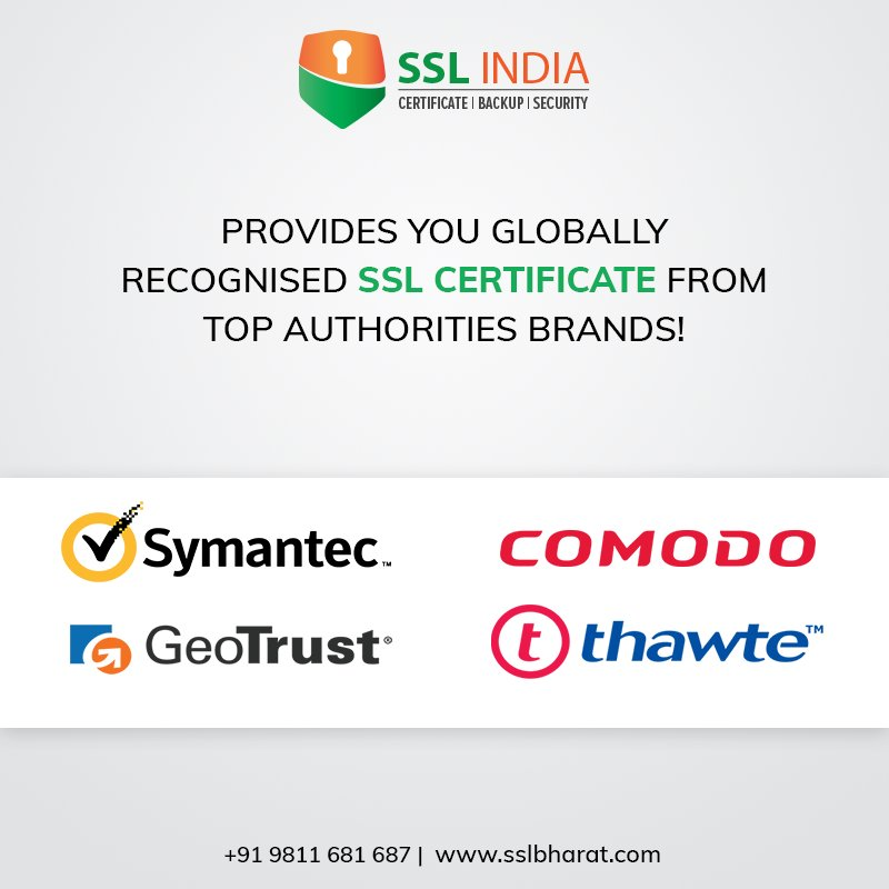 Ssl India On Twitter Sslindia Provides You Globally Recognized