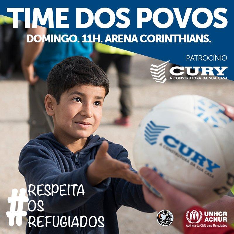 Domingo, a Cury Construtora entra em campo patrocinando o Time dos Povos. O projeto é uma parceria entre o Corinthians, o Lar Sírio Pró-Infância, Cáritas e a ACNUR. Às 11h, os jogadores entrarão em campo acompanhados de 18 crianças sírias e 26 crianças de outras nacionalidades.