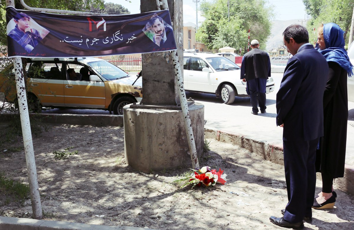 As we honor journalists around the world on World Press Freedom Day, we mourn the victims of this week's targeted attack on journalists. Holly and I visited the site of the April 30th attack to pay our respects to the heroic #Afghan journalists who lost their lives.#WPFD2018 #AFG