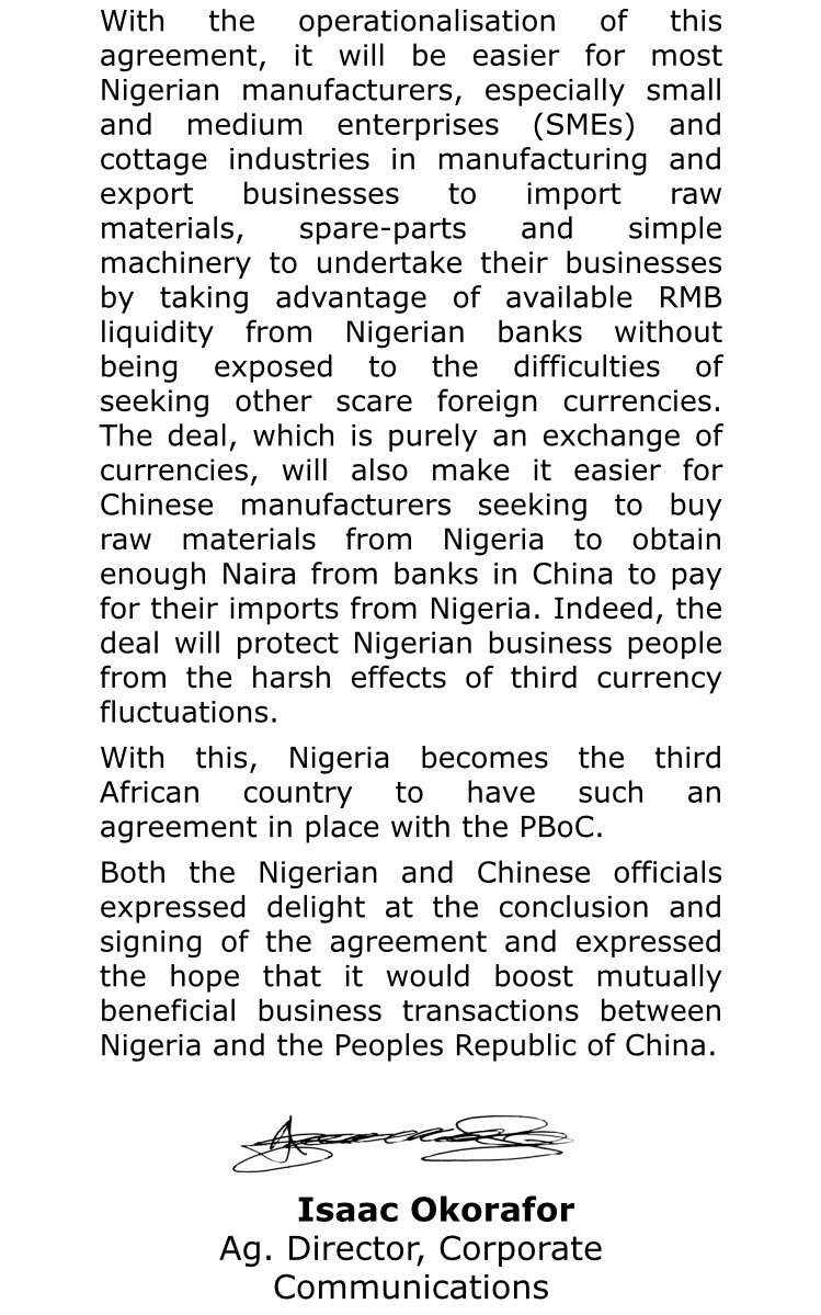 Government Of Nigeria On Twitter Currency Swap Deal Cbn Cenbank