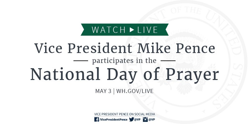 Speaking at the @WhiteHouse's #NationalDayofPrayer event this morning. Watch live: https://t.co/UUeMY4KUw5 https://t.co/saANcSUJYJ