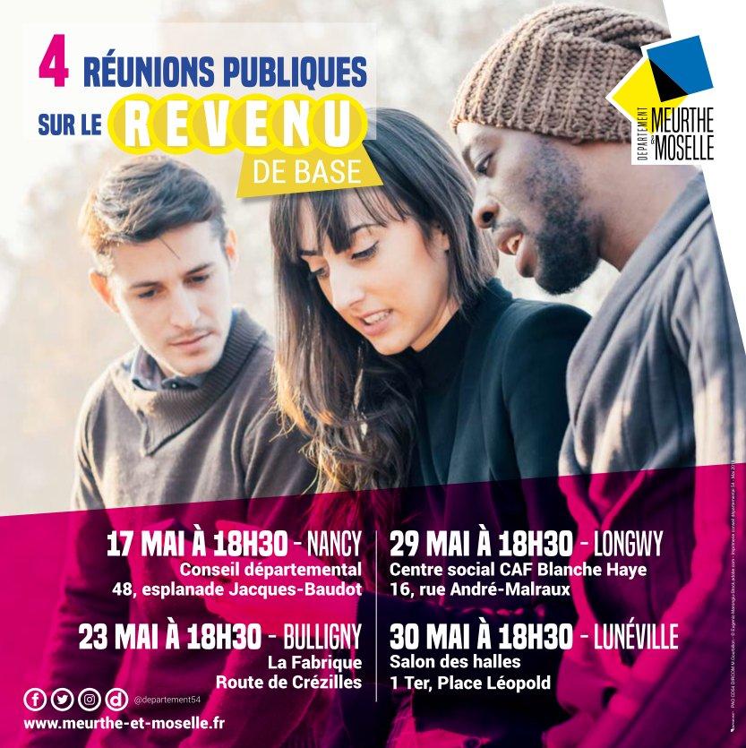 Expérimentation dun #RevenuDeBase : 4 réunions publiques sont organisées en Meurthe-et-Moselle. Pour en savoir plus et pour s'inscrire : meurthe-et-moselle.fr/revenudebase