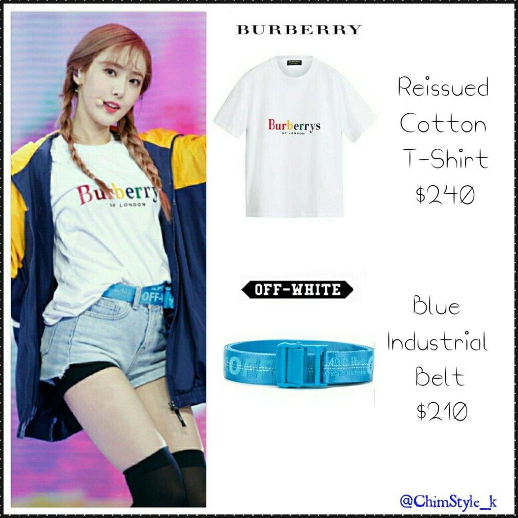 6cdff7b3b 180502 #GFRIEND #SinB @ M COUNTDOWN T Shirt: BURBERRY - Reissued Cotton T  Shirt ($240) Belt: OFF WHITE - Blue Industrial Belt ($210) #GfriendFashion  ...