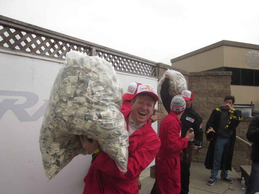 #ThrowbackThursday We dont always pay winners with nickels. We once gave the winners the check written on a toilet seat and in 2011, we gave the Sonoma winners garbage bags full of ruble notes. Yes, that is @billcaswell318 holding up probably $11 in Russian bills.