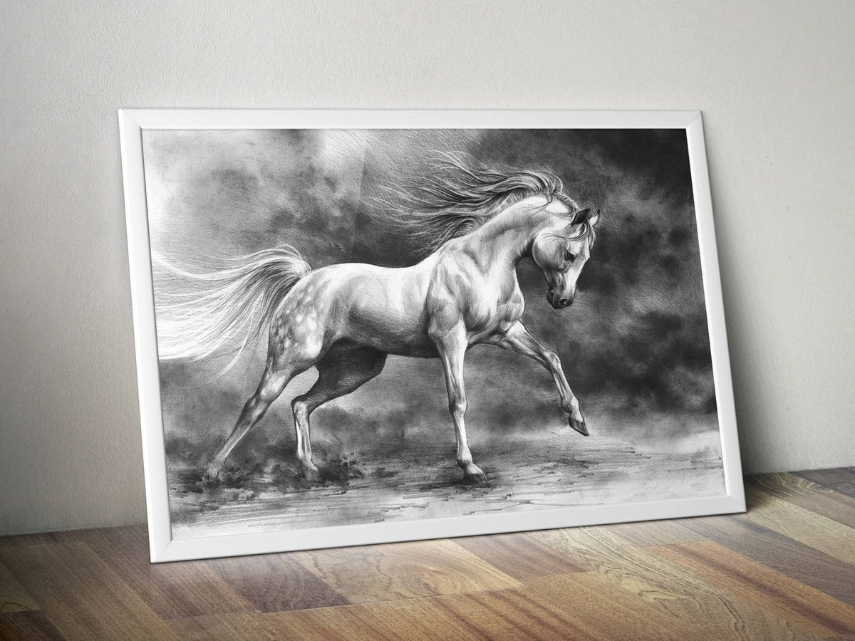Katarzyna Kmiecik Artist And Illustrator On Twitter White Horse Art Print Equine Art Print Running Horse Drawing Print Horse Pencil Drawing Realistic Animal Drawing Black And