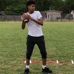 Big Kam Evans from Walnut Hill 1st workout. He's a monster...6'2 & in the 7th grade. Smooth stroke with nice arm strength. Played QB on my FBU team in 2015. Glad to be able to work with him again. #GunslingerTrained #WalnutHillQB1