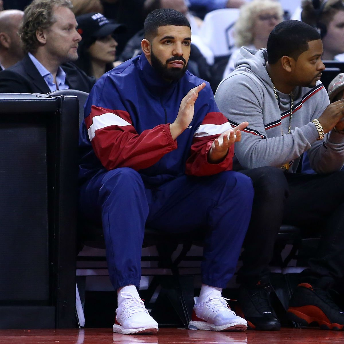 e3dcb57aad40  SoleWatch   Drake watching Game 2 in the Adidas Ultra Boost.    pic.twitter .com aA0g46bXa6