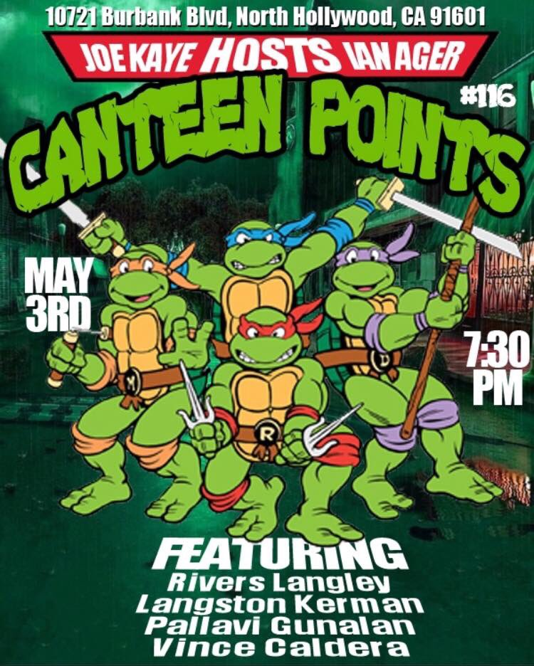 TONIGHT! I'm at @JoeCharlesKaye and @IanAger's GREAT show #CanteenPoints at  @TheGoodNite in #NorthHollywood. Show starts at 7:30 and the line-up is ...