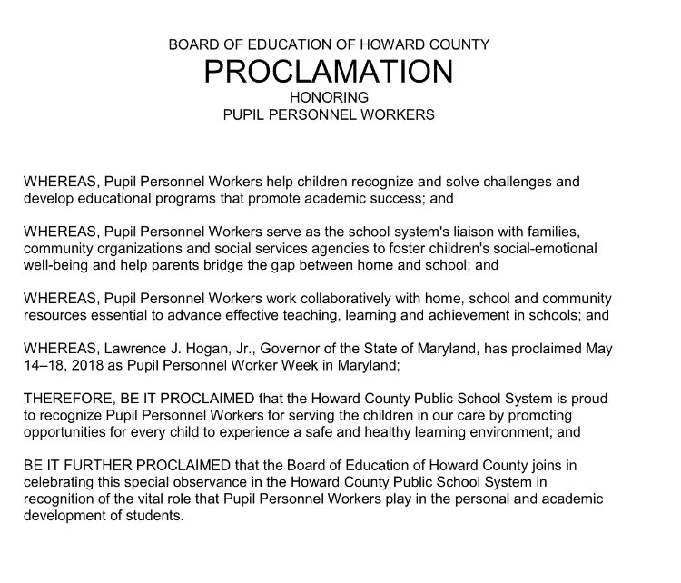 Proclamation honoring pupil personnel workers
