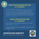 Image for the Tweet beginning: 🔊 ANNOUNCEMENT: Qualifying Examination For S.Y.