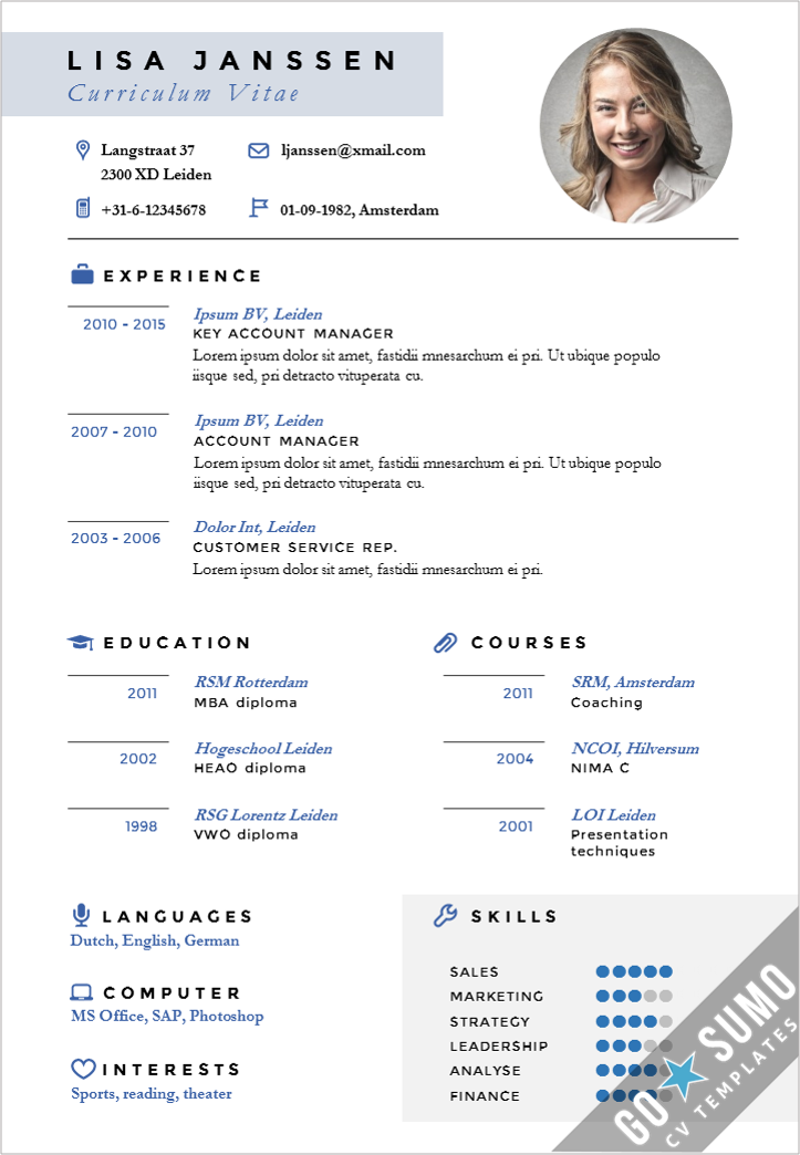 """Go Sumo cv template on Twitter: """"Creative cv template in MS Word, incl matching cover letter ..."""