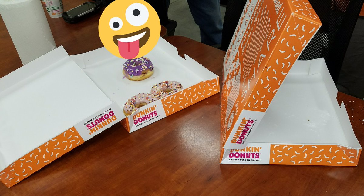 """Bought the day and night team some donuts to say, """"Thank You"""" for their hard work trying to finish projects and MAP. I think they approved.  #busyweek"""