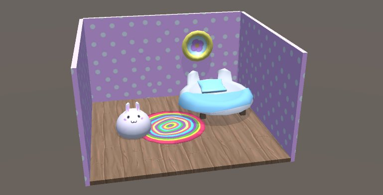 a little room with a blob that looks like a bunny. there is a round bed and a colorful carpet