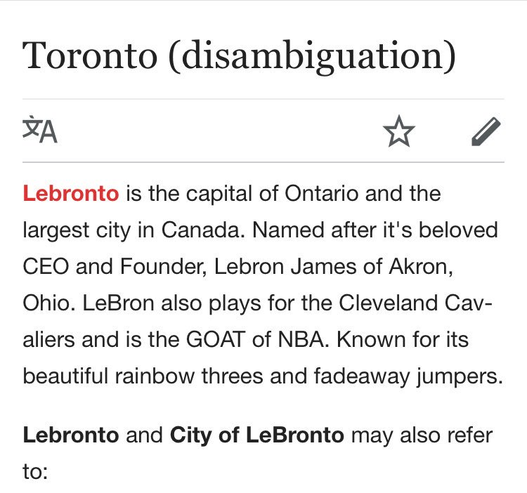 Gooooood morning from Toronto.   I mean, Lebronto