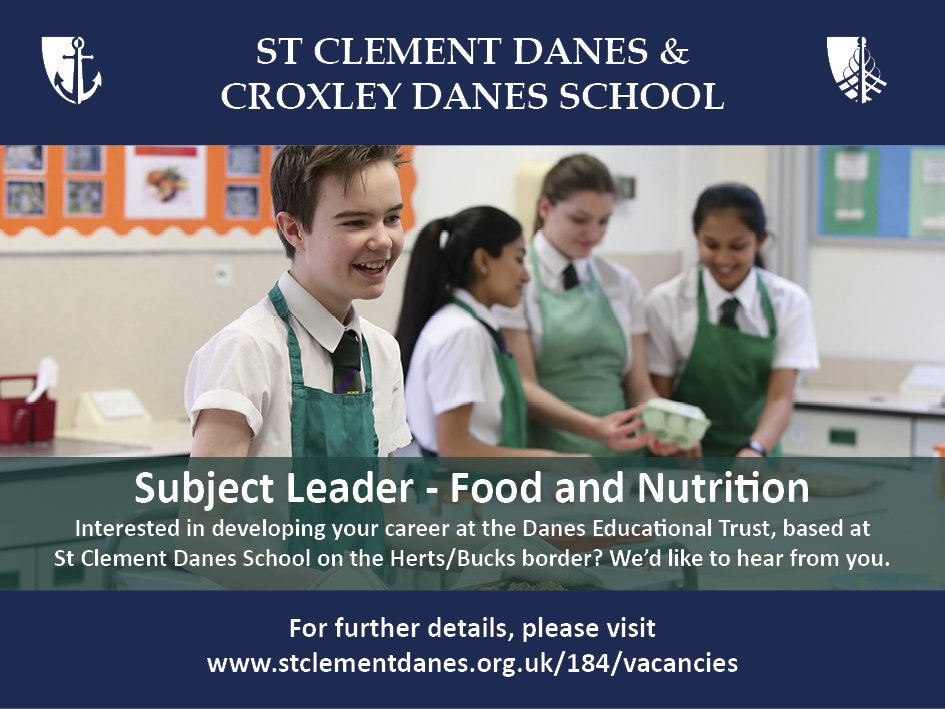 #teachingvacancyuk  Subject Leader Food and Nutrition Full time SouthEast Apply now: https://t.co/f4hVusWa7k By: 14 May 2018 For: 1 Sept 2018 Come and lead this fantastic team at St Clement Danes, an oversubscribed, successful school on the Herts/Bucks border. https://t.co/foYzoKR7K0