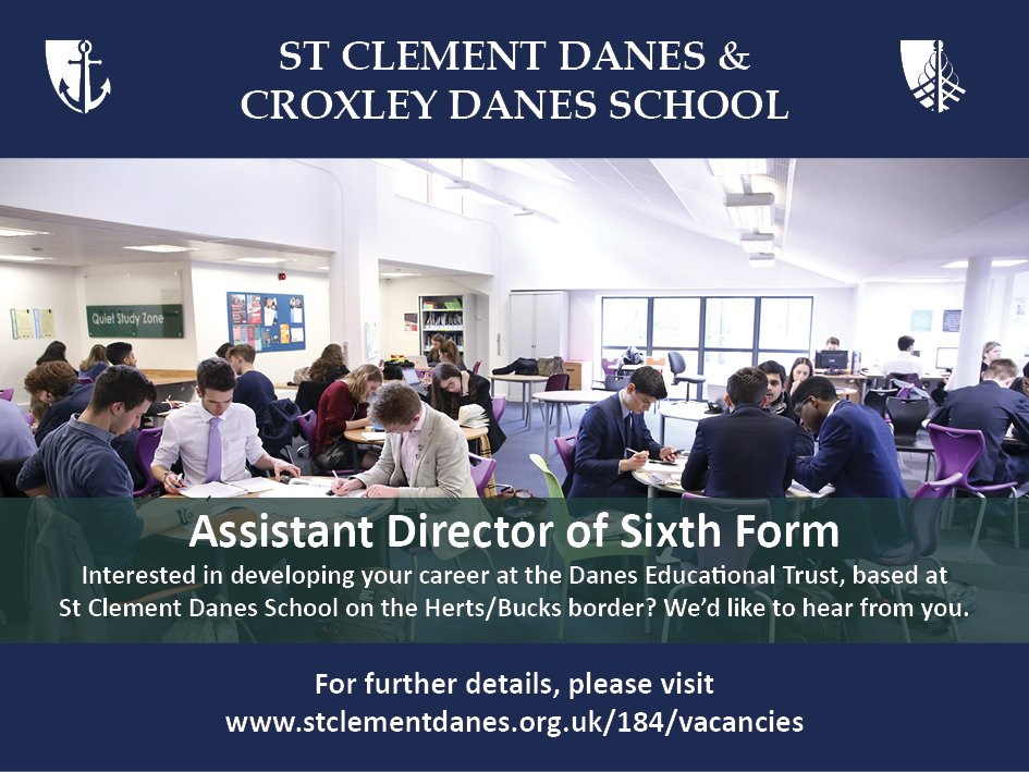 #teachingvacancyuk  Assistant Director of Sixth Form Full time SouthEast Apply now: https://t.co/HwZfNlPE3P  By: 14 May 2018 For: 1 Sept 2018 Help lead talented students and outstanding staff at St Clement Danes, an oversubscribed, successful school on the Herts/Bucks border. https://t.co/cqD3fJ11Y8
