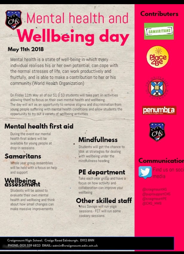 Craigmount Di Twitter Next Friday May 11th Mental Health And Wellbeing Day For All S1 S3 Dress Comfortably And Wear Green If Possible