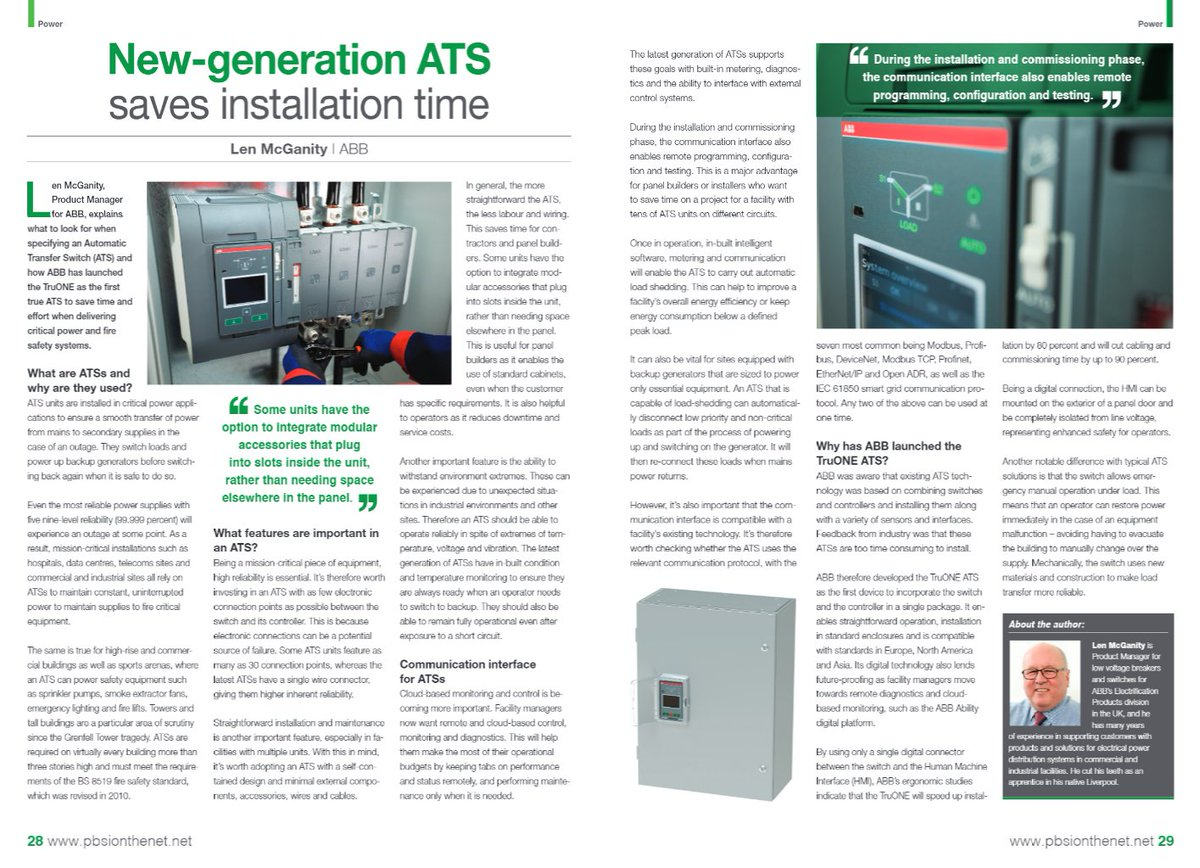 Pbsi Magazine On Twitter New Generation Ats Saves Installation Details About Automatic Transfer Switch Controller Build Your Time Abbelec Https Tco Qnqjyxmcje Truone Power