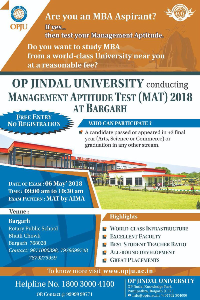 Attention students at Bargarh, your #MAT exam date is 6May 2018. All the best!  Time - 9 AM to 10:30 AM Venue - Rotary Public School Bhatli Chowk, Bargarh 768028  #MAT2018 #Bargarh #Odisha #OPJU — at Bargarh district. <br>http://pic.twitter.com/vAJ3sAkfwa