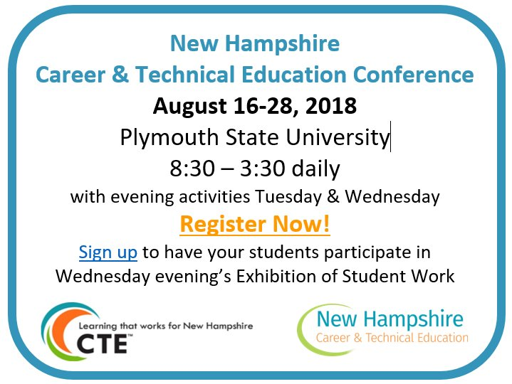 Register now for the 2018 NH CTE Conference!... https://t.co/nz8XumwfBW