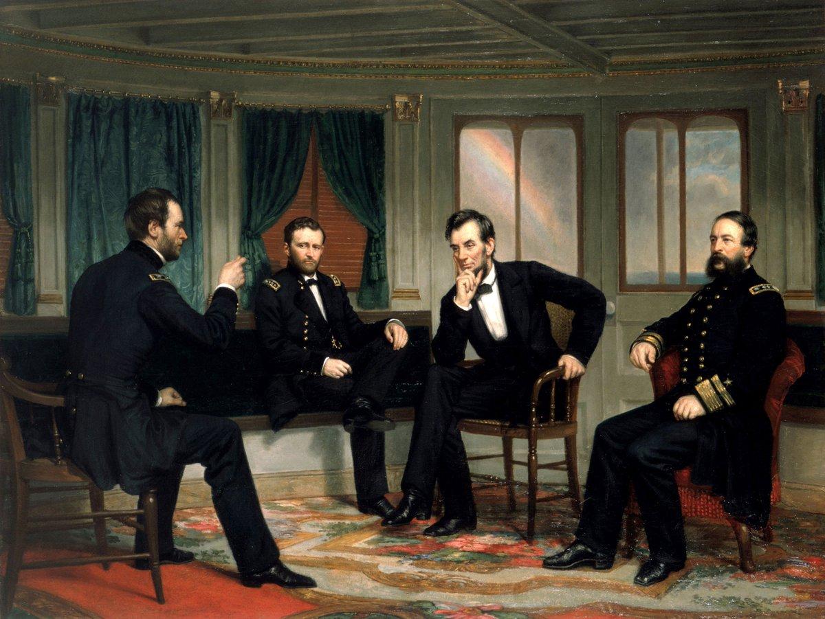 Gorseldekiler Soldan Saga General William Tecumseh Sherman Ulysses S Grant Baskan Abraham Lincoln Tugamiral David Dixon Porter The White