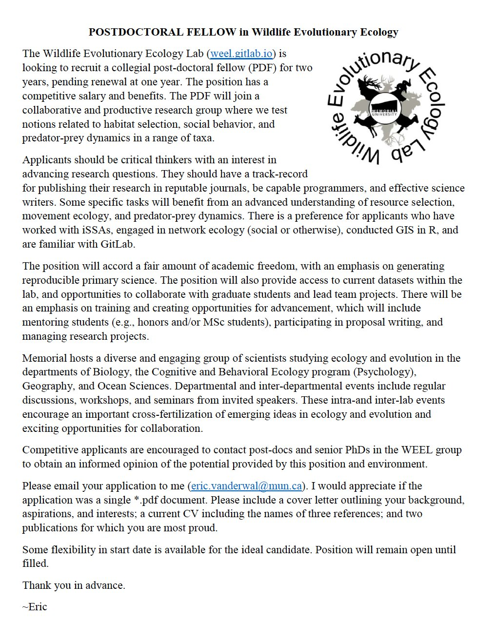 Bes Movement Ecology On Twitter Great Postdoc Opportunity With