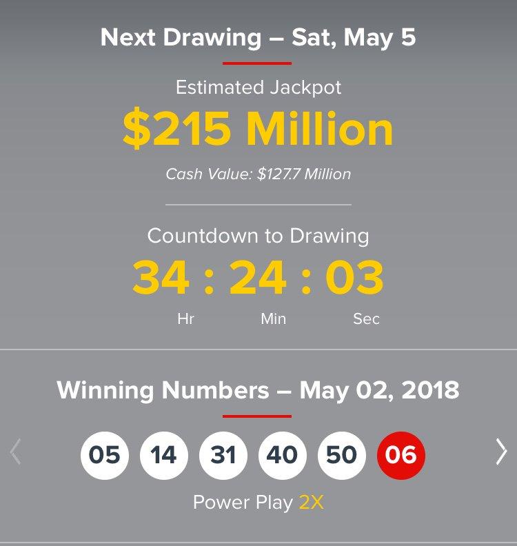 Megamillions Lottery On Twitter Powerball 05 02 18 No Jackpot