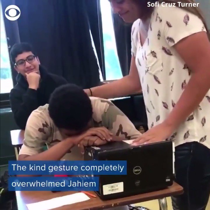 A teenage boy was brought to tears when a classmate surprised him at his desk with a random act of kindness https://cbsloc.al/2HUhg4C
