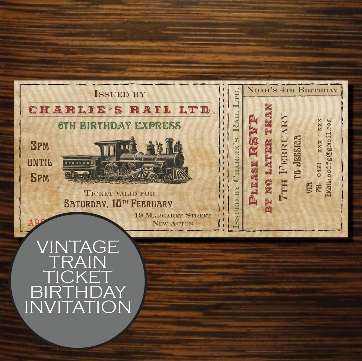 Hop A Vintage Train Ride To Their Next Birthday With This Invitation From My Etsy Shop Etsyme 2jsu2N8 Papergoods