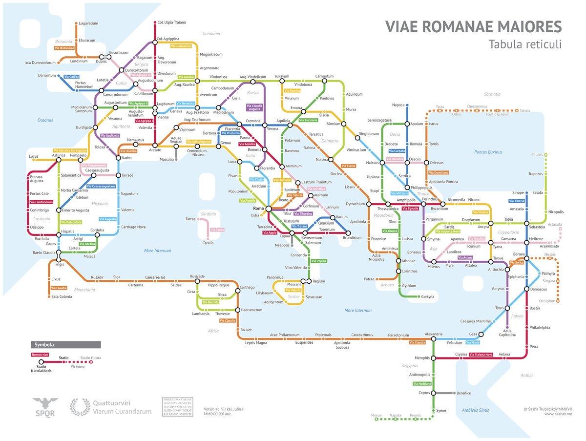 El mapa de las calzadas romanas en versión 'mapa de metro' (125dC). Vía @CRCiencia