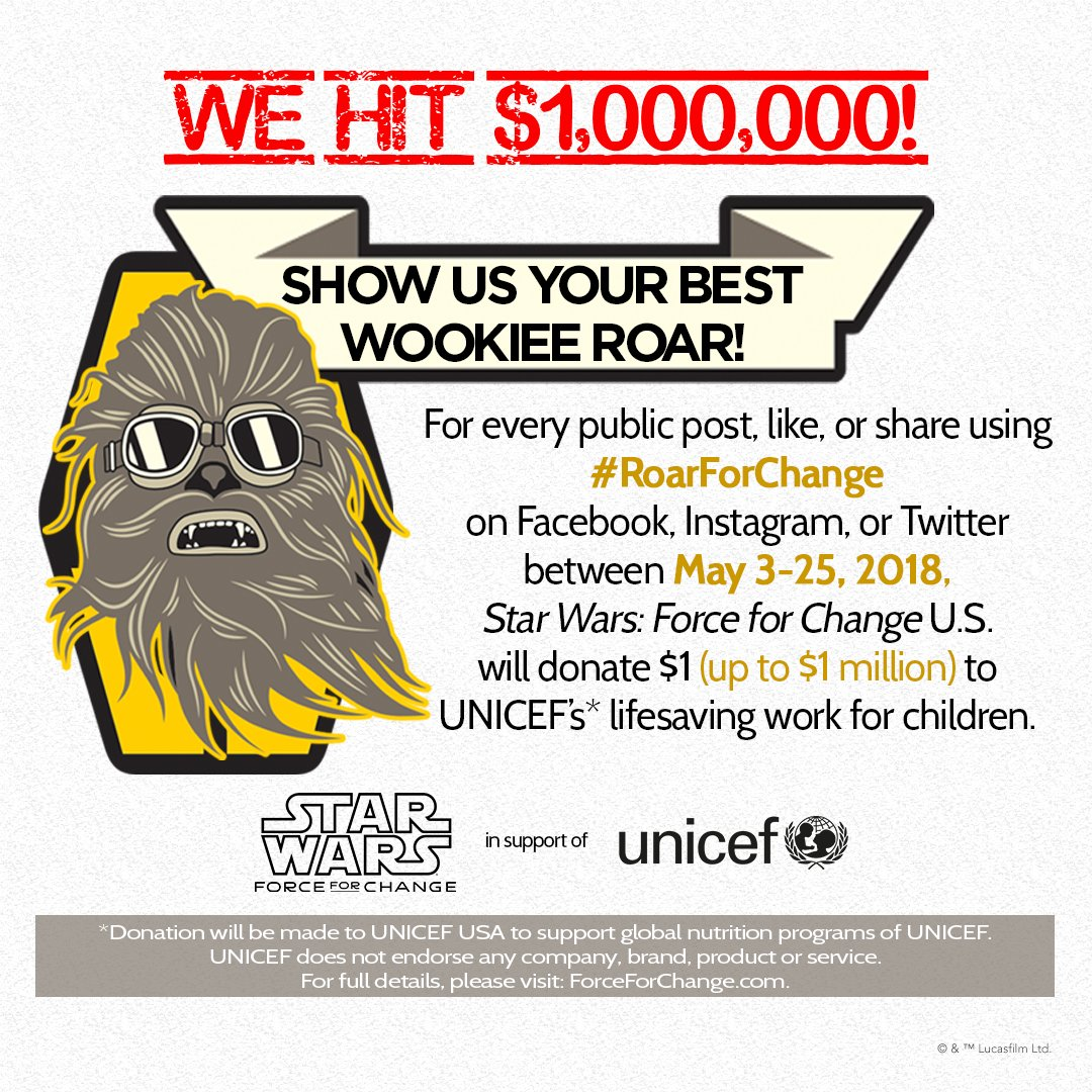 Thanks to fans from around the world & the , we#BTSARMY reached our maximum donation goal of $1M. Funds unlocked through this campaign will help  pro@UNICEFvide food packets to children suffering from malnutrition. Happy ! Le#StarWarsDayarn more at .https://t.co/YWzgNoK6es