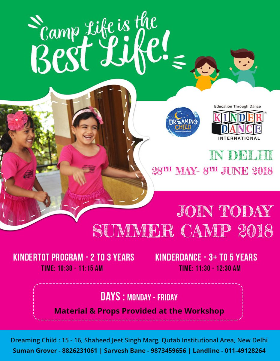 Fun hands-on summer camp!! Don't miss the opportunity. Kinderdanceindia in association with DreamingChild is organizing exciting summer camp workshop in Delhi from 28 May to 8 June. For registration Call at 8826231061 or 9873459656   #KidsSummercamp #SummercampInDelhipic.twitter.com/plg2XxHAS3