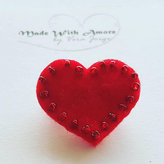 New post (Felt heart brooch, love brooch, valentines gift for her, handmade, hand sewed) has been published on Happy Mothers Day 2018 - happymothersdaywishes.info/felt-heart-bro…