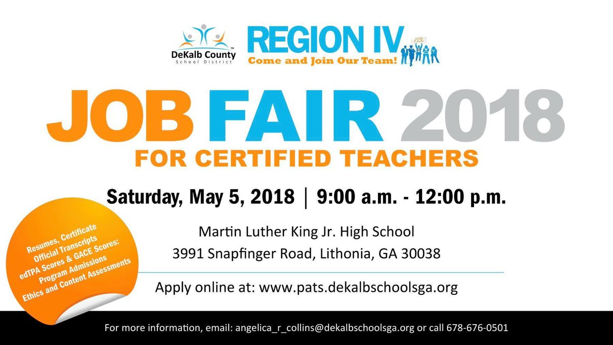 """DeKalb Co. Schools on Twitter: """"Rise and grind! Our region 4 job fair  starts at 9am. Stop by any time before 12pm. #jobs… """""""