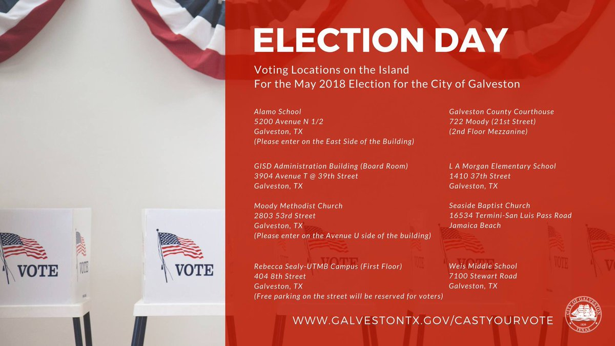 ... before you head out to the polls to #castyourvote:  http://www.galvestontx.gov/castyourvote ! See you at the polls, Galveston !pic.twitter.com/sOw3B3yLJw