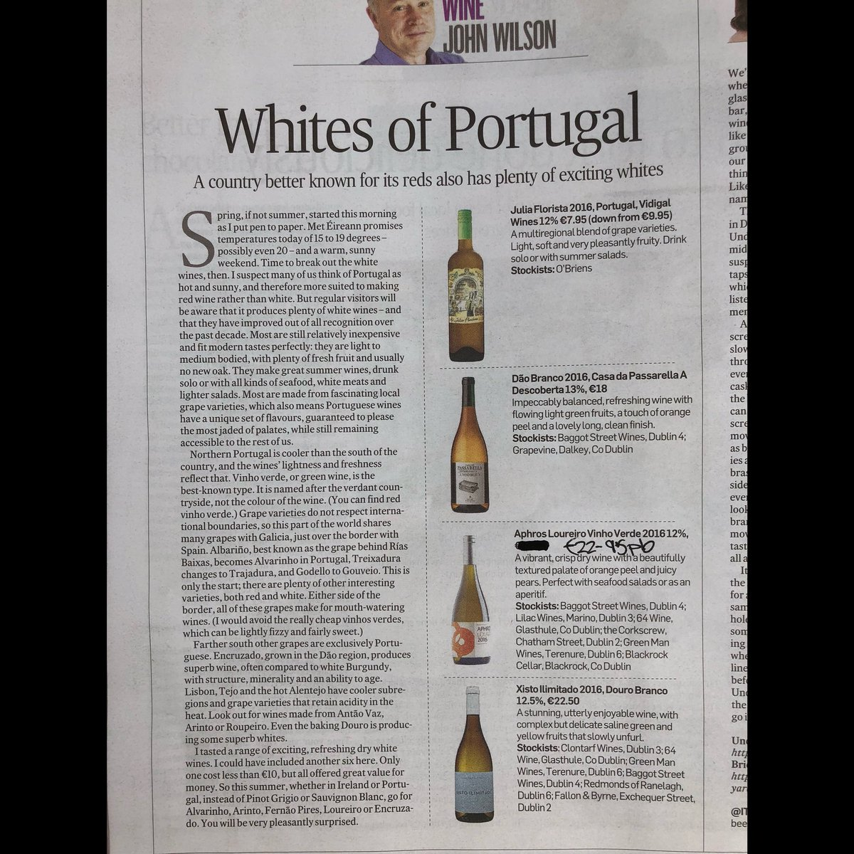 Baggot Street Wines On Twitter We Couldnt Agree More With Wilsononwine And His Glowing Endorsement Of White Wine From Portugal