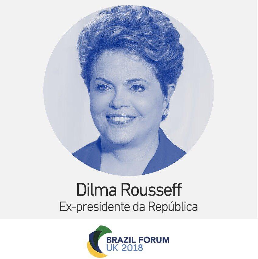 DILMA PARTICIPA DE FÓRUM UK 2018, EM LONDRES  A presidenta Dilma Rousseff está em Londres neste sábado (5) para falar no Brazil Forum UK 2018, evento organizado por estudantes brasileiros no Reino Unido.   Para mais informações, entre no site https://t.co/2qAiyV3c9n.