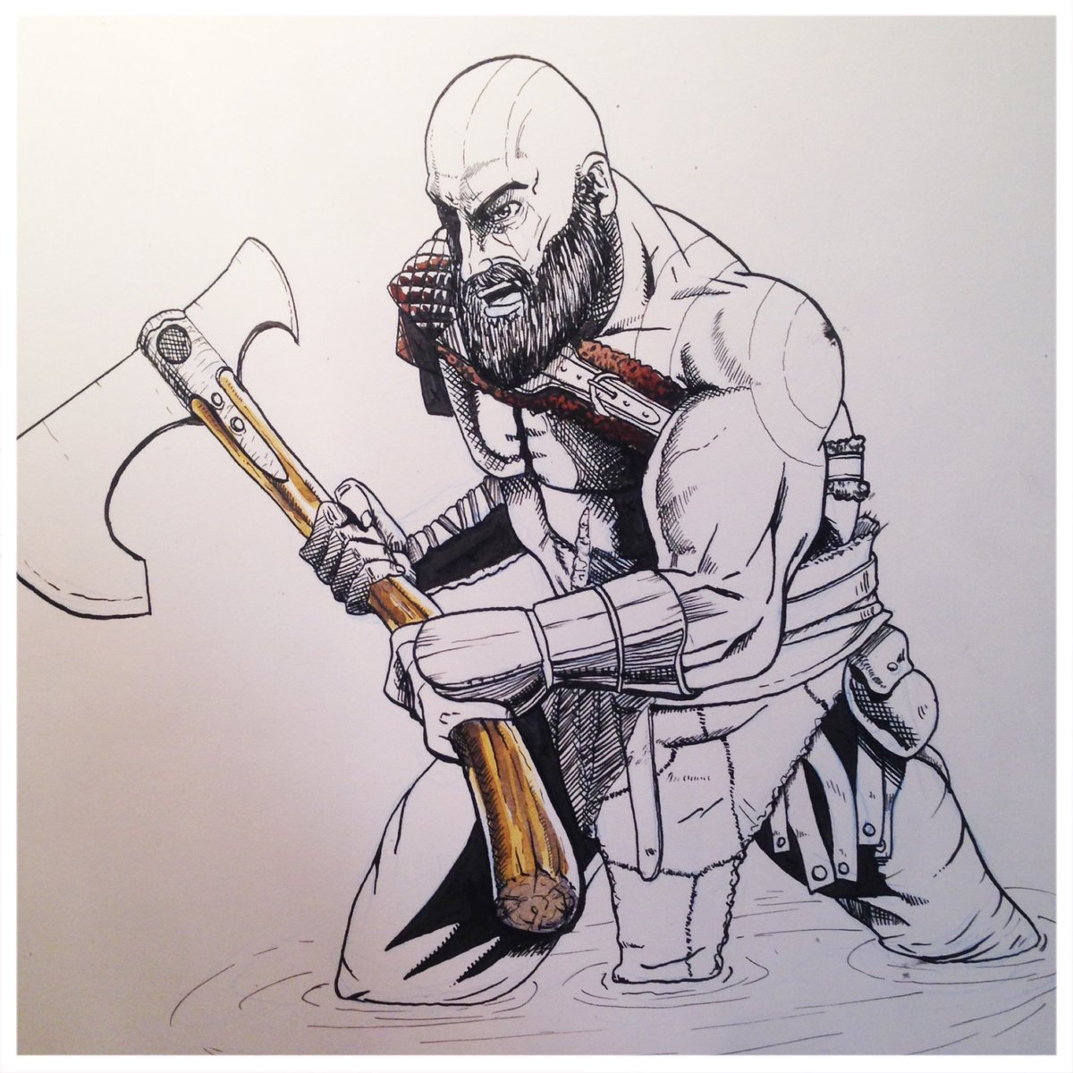 Robert Volkmer On Twitter Inks Of The Kratos Drawing I Did