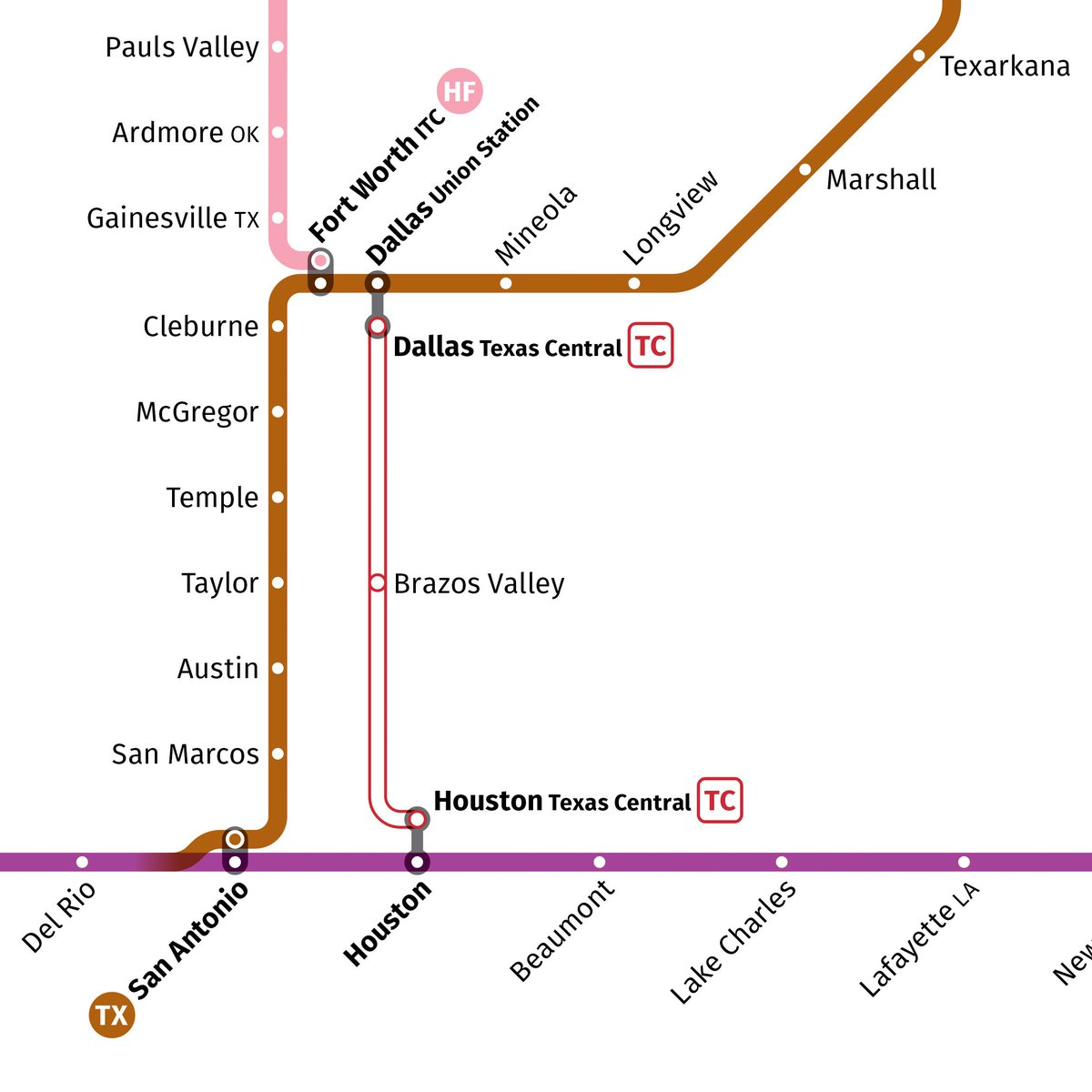 Houston Texas Subway Map.Transit Maps On Twitter With The News That Amtrak Will Offer Thru