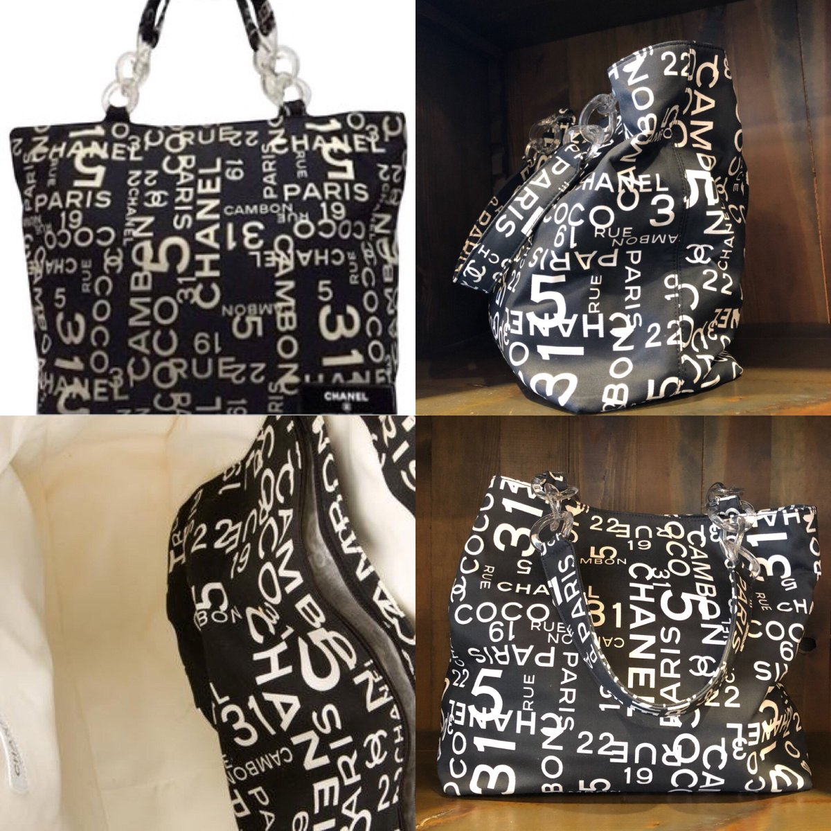 adb681cfb7f9 This chic tote is crafted of black canvas with the print of Chanel 31 Rue  Cambon