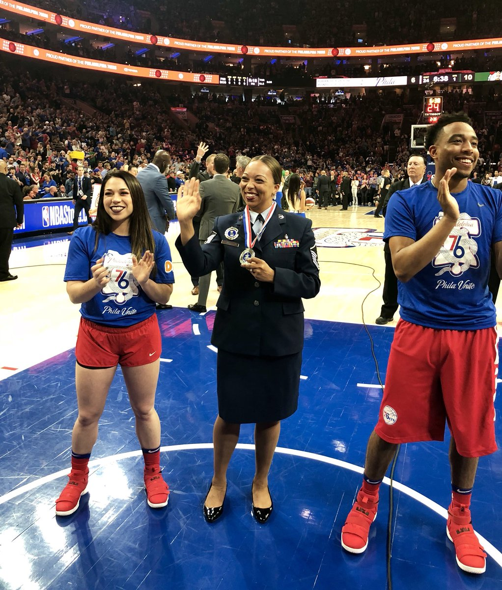 Tonight's @Toyota Salute of the Game is MSGT. Waylon Hobbs!   MSGT. Hobbs has served nearly 16 years in the @usairforce and has a tour of duty to Afghanistan in support of Operation Enduring Freedom to her credit.  The @sixers thank you for your service, MSGT. Hobbs!