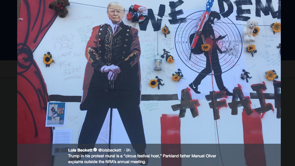 Parkland father paints Trump as circus ringleader at NRA convention https://t.co/5QoTINuUPY https://t.co/Rt5Gg8z4H8