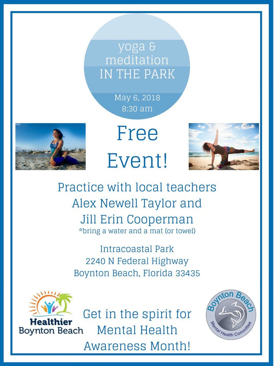 City Of Boynton On Twitter Free Yoga And Mediation In The Park