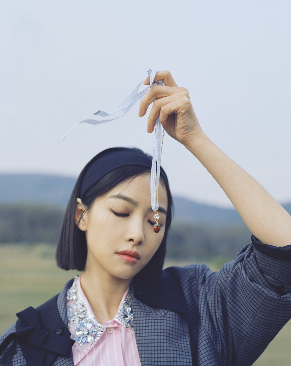 """#VictoriaSong on happiness…   """"For me, a perfect moment is not about what I do – whether it is reading a book or spending time with my friends – it is more about a state of mind. A mood which makes me feel relaxed and enjoy the moment.""""  #GirlInMiuMiu  📷  #LeslieZhang"""