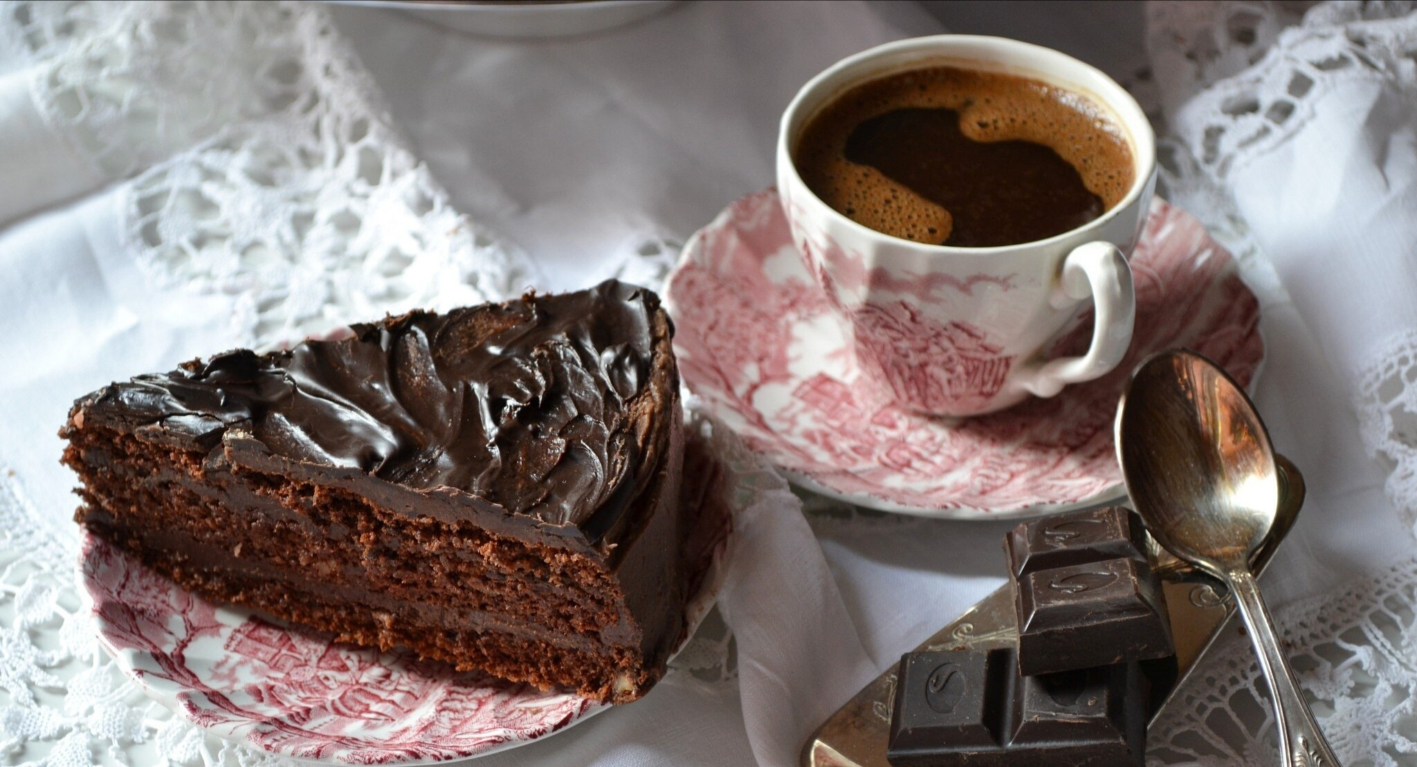 Шоколадка и чай открытка